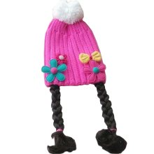 Cute Baby Girl Knitted Hat Kids Cap with Braids Pink Bow