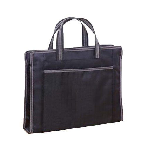 Portable Document Bag Zipper Bag Multi-layered Data Bag Briefcase, Black-3