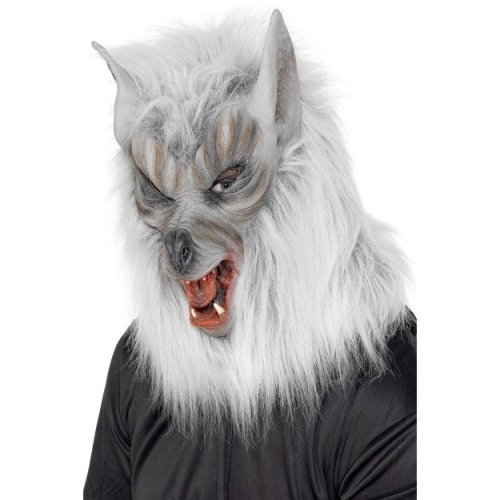 Grey Overhead Rubber Wolf Mask. - mask fancy dress werewolf halloween smiffys mens new accessory masks full costume  sc 1 st  OnBuy & Grey Overhead Rubber Wolf Mask. - mask fancy dress werewolf ...