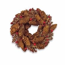 Artificial Red Berry & Pine Cone Wreath