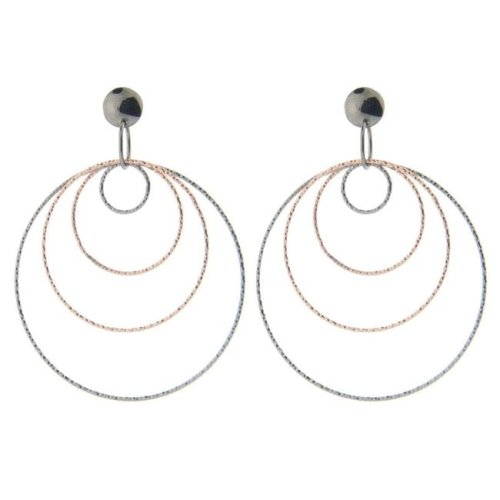2535fa5da Fronay 125122B Diamond Cut Concentric Hoop Earrings in Sterling Silver Black  & Pink Rhodium on OnBuy