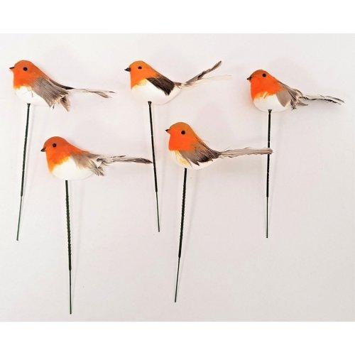 Set of 5 Robin Picks - Christmas & Winter Decorations - 18cm Long