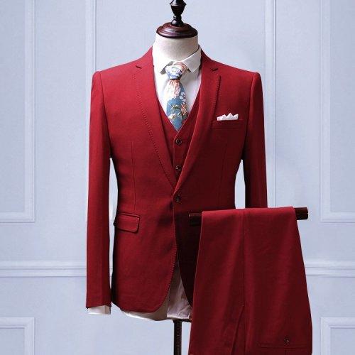 【Handmade】 Custom Mens Suit wool blend 3piece Wedding Suit