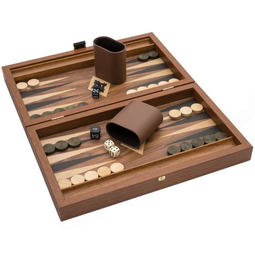 Manopoulos The Olive Walnut and Black Travel Backgammon Set
