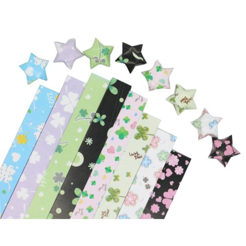 360 Sheets Origami Lucky Star Papers 8 Colors - Four-leaf Clover