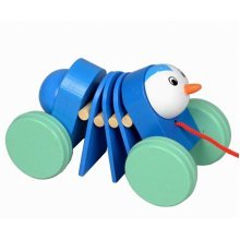 Lovely Wooden Push & Pull Toy Pull-Along Wagon Vehicle Caterpillar Random Color