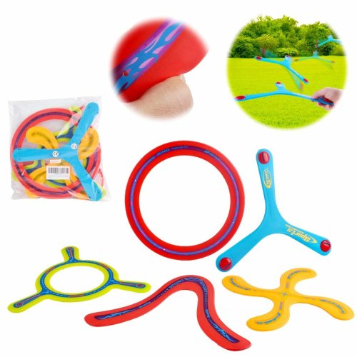 deAO 5 Piece Colourful All Style Returning Boomerang Sports Game Toy for Beginners and Young Throwers
