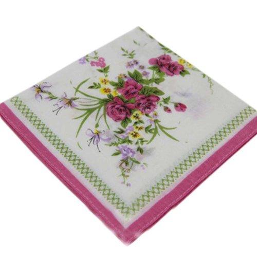 3 Pcs Vintage Handkerchiefs Ladies Pocket Flowers Handkerchief,  #06