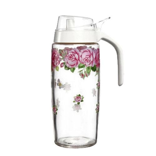 500ML Beautiful Glass Vinegar Bottle Oil Container Cruet, Red Rose