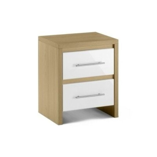 Sadat Oak Bedside Table - 2 Drawer Fully Assembled
