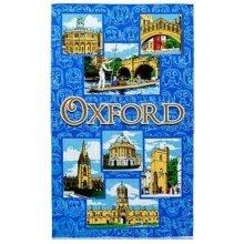 Oxford Blue Tea Towel Collage Montage City Souvenir Gift Magdelen Bridge Sighs