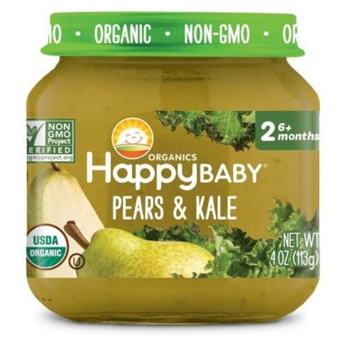 Happy Baby 318856 Stage 2 Pears Kale Clearly Crafted Baby Food in Jar, 4 oz - Pack of 12