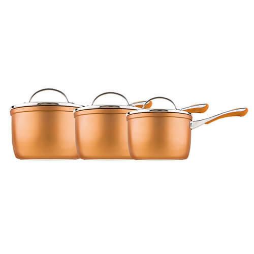 Prestige Prism 14cm, 16cm and 18cm saucepan set, Aluminium, Copper, 3 piece set
