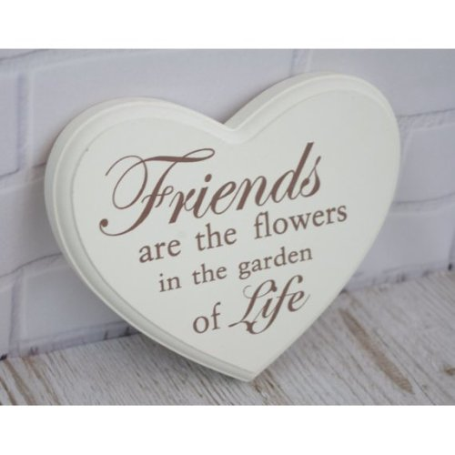 Heart Plaque Friends Are The Flowers in The Garden F0593L
