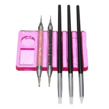 5 Grooves Nail Art Brush Drying Holder Plastic Stand Acrylic UV Gel Pen