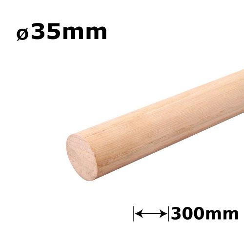 Beech Dowel Smooth Wood Rod Pegs - 300mm length, 35mm diameter