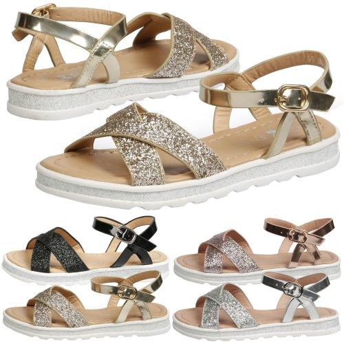 Girls Kids Sandals Flat Open Toe Glitter Summer Fashion Beach Infants Shoes