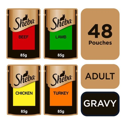 Sheba Select Slices Cat Pouches Succulent Collection In Gravy 12x85g (Pack of 4)
