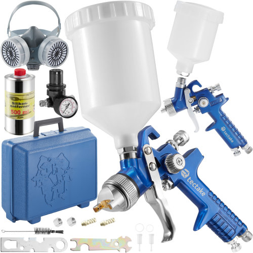 2 HVLP paint spray guns (1.0+ 1.7 mm) + mask + silicone remover - blue