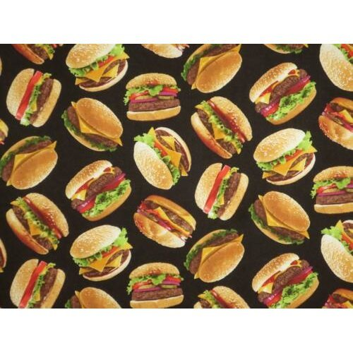 Fat Quarter Hamburgers Beefburgers Burgers Cotton Quilting Fabric