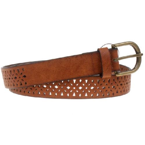 Women Fashion Belt Pierced Decorative Belt Dress Belt [Brown]