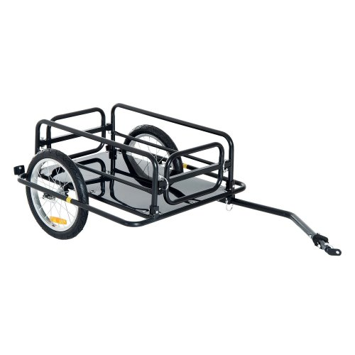 Homcom Folding Bike Trailer Cargo Steel Frame Storage Carrier with Hitch (Black)