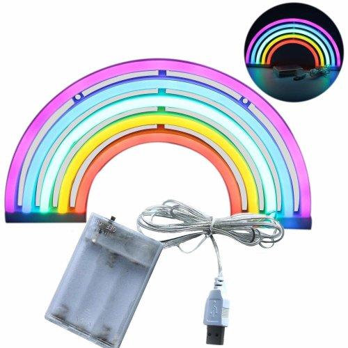 Rainbow Light Neon Signs - XIYUNTE Rainbow Neon Lights Wall Lamp Room Decor, Battery and USB Operated Neon Lights Rainbow Neon Lamps Light up for...