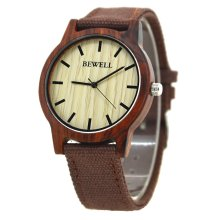 Bewell Canvas & Red Sandalwood Women's Watch