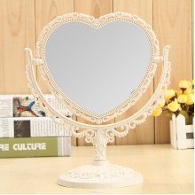 3 Shapes Rotatable Double-Sided Stand Makeup Mirror Heart-shaped Oval Round Desktop Cosmetic Mirrors