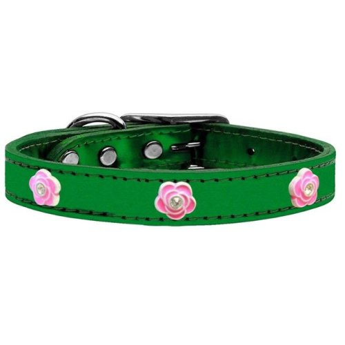 Mirage Pet 83-84 EGM22 Bright Pink Rose Widget Genuine Metallic Leather Dog Collar, Emerald Green - Size 22