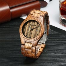 Bewell Mens' Brown Zebrawood Watch - W086