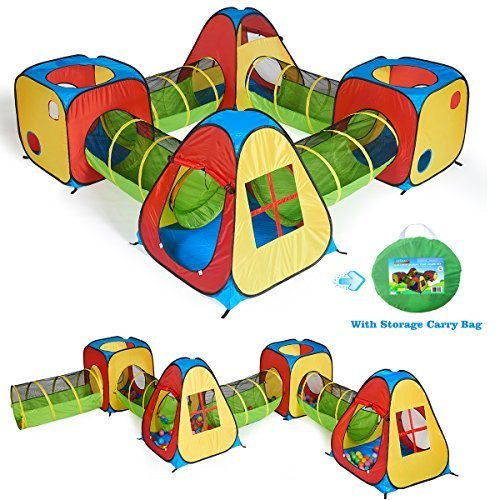 UTEX 8 in 1 Pop Up Children Play Tent House with 4 Tunnel 4 Tents for Boys Girls Babies and Toddlers for Indoor and Outdoor Use