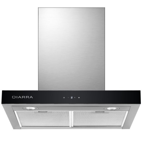 CIARRA Touch Control Chimney Cooker Hood 60 cm Wall Mounted Stove Range Hood Recirculating Kitchen Stainless Steel Extractor Fan (Silver)