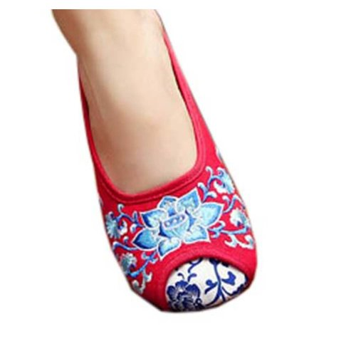 Womens Embroidered Summer Slippers Wedges Sandals Shoes for Cheongsam, #07