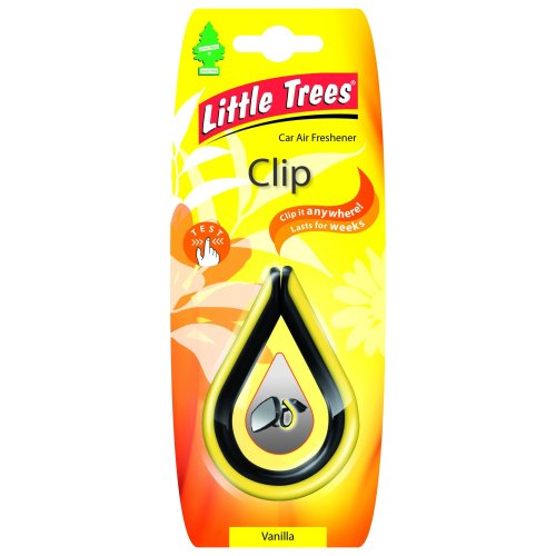 Little Trees LTC007 Clip - Air Freshener - Vanilla Fragrance - Yellow/orange, 1 unit