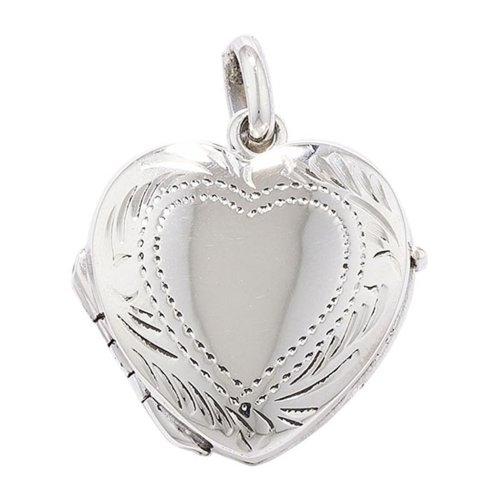 Childrens Sterling Silver 3 Way Engraved Heart Locket On A Curb Necklace