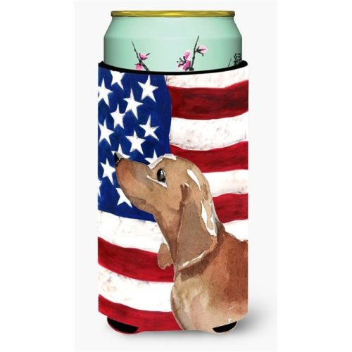 Carolines Treasures BB9371TBC Red & Tan Dachshund Patriotic Tall Boys Beverage Insulator Hugger