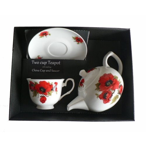 Poppy Teapot cup and saucer set - Porcelain teapot, with china cup & saucer in box