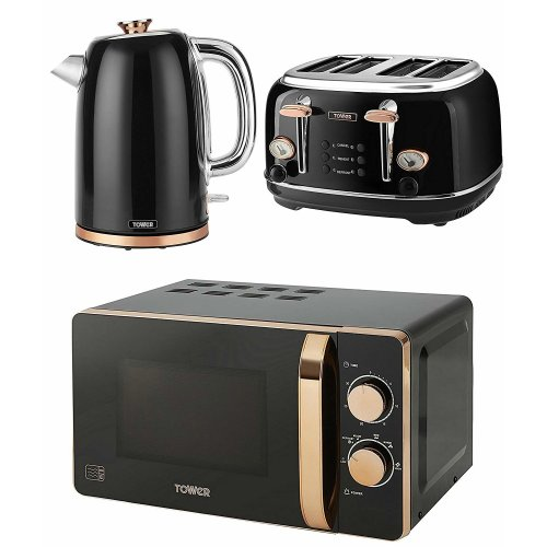 ROSE GOLD & BLACK Manual 20 Litre Microwave, 1.7L Jug Bottega Kettle & 4 Slice Toaster