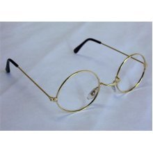 Gold Round Iron Granny Specs - Dress Fancy Glasses Old Santa Costume -  dress fancy round glasses granny specs old santa costume