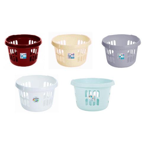 Plastic Round Laundry Baskets Washing Up Clothes Storage Bin Hamper
