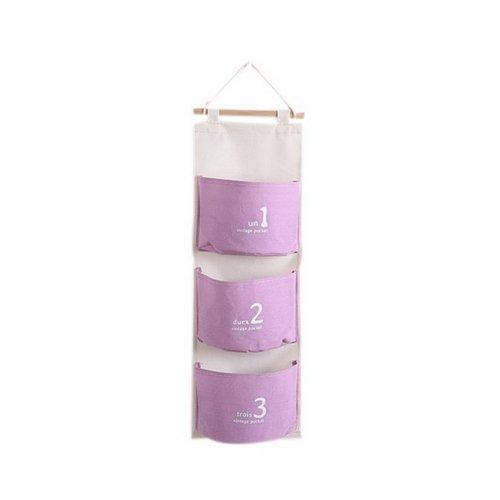 3-Pocket Wardrobe Hanging Organizer Number Series Hanging Organizer Light Purple
