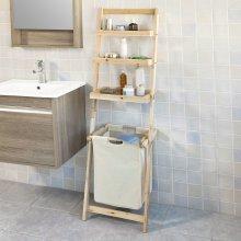SoBuy® FRG160-N, Bathroom Shelf with 3 Storage Shelves 1 Removable Laundry Basket