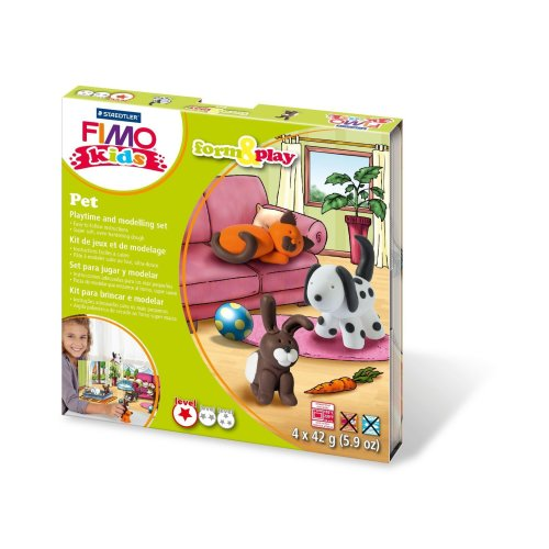 Fimo 7-Parts Kids Form and Play Pet Modelling Set, Multi-Colour