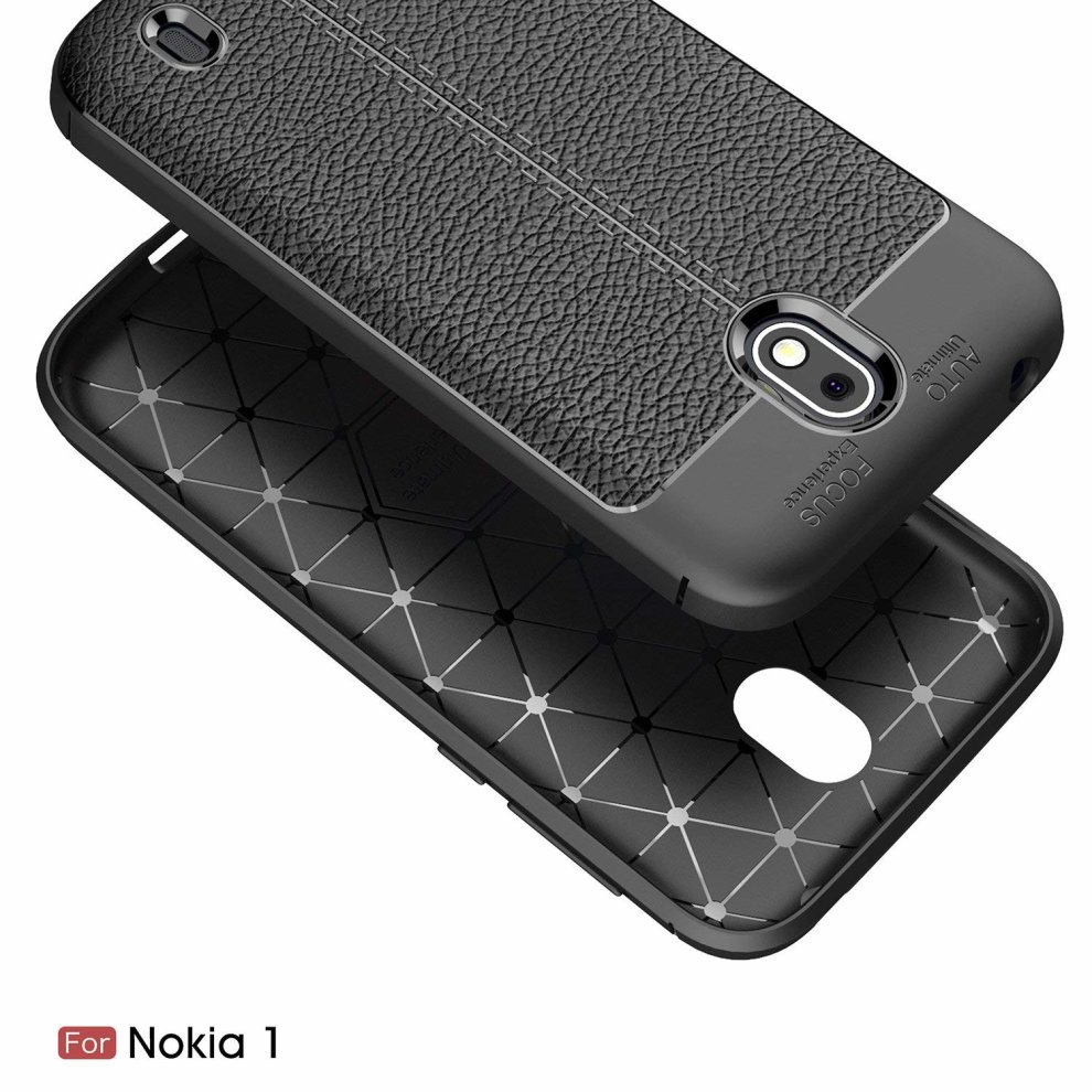 f0912aca8c ... The Keep Talking Shop Rugged Grip Cover for Nokia 1 Case Slim-Fit  Leather Pattern ...