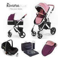 Tutti Bambini Riviera Plus 3 in 1 Silver Travel System - Dusty Pink/plum