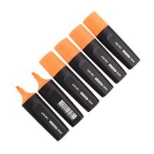 6-pack Fluorescent Pens Student Office Markers Wide-barreled Highlighters Orange