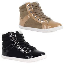 Ladies Ankle Flat Hi Top Lace Up Patent Trainers