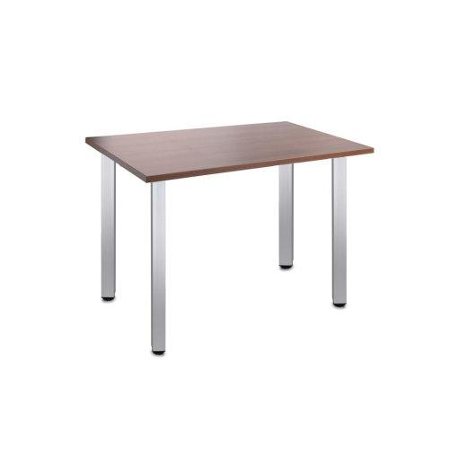 Computer Desk Office Dining Table Workstation Aluminium Legs Square Wallnut Top 120x80cm