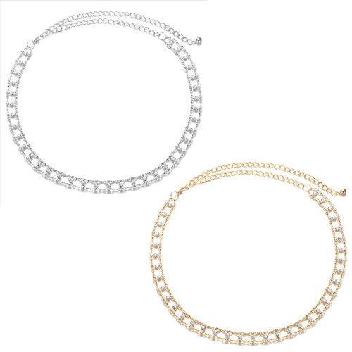 Women Metal Waist Chain Belt with Diamante Rhinestones & Stylish Clasp